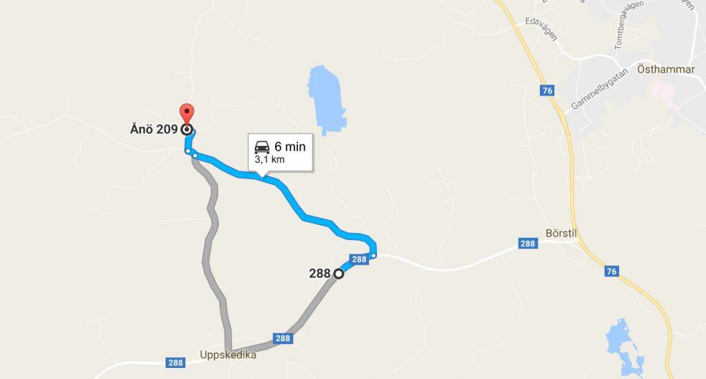 Karta vägbeskrivning från väg 288