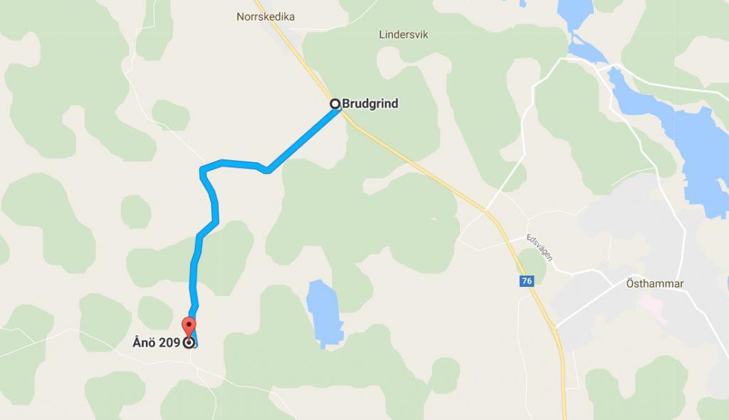 Karta vägbeskrivning från väg 76